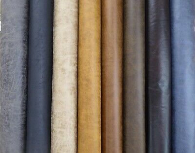 Distressed Faux Leather Upholstery Fabric (8 Colours) * NEW TAN COLOUR/FINISH *