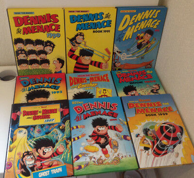 Dennis The Menace Annual Bundle x9 Books The Beano 1990s Vintage UK Comic