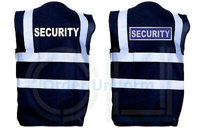 Black Security Hi Viz Vis Vest Reflective Safety High Visibility Waistcoat