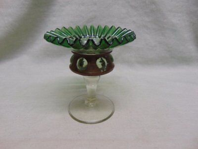 Victorian Blown Green & Clear Glass Crimped Pedestal Compote