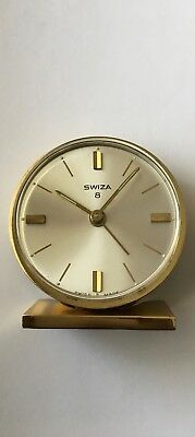 Vintage Swiza 8 Days Alarm Clock Swiss made 7 Jewels L Schwab S.A Working