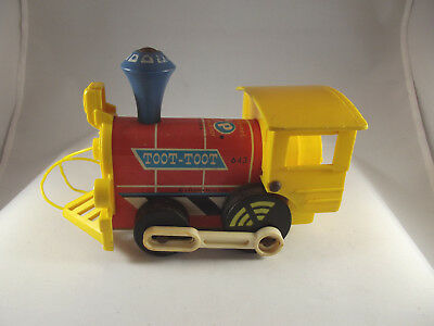 Vintage Fisher Price Toot Toot Train #643 Yellow and Red  Pull Toy