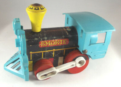 Vintage Fisher Price Smokie Train #642 Blue and Black Pull Toy