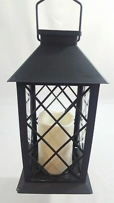 Barbara King Indoor Outdoor Solar Lantern With Flameless Candle Black