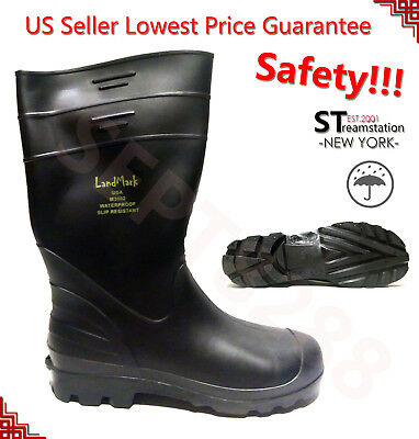 Men's Rain Boots Rubber Waterproof Slip-Resistant Snowshoes Work Safety Shoes