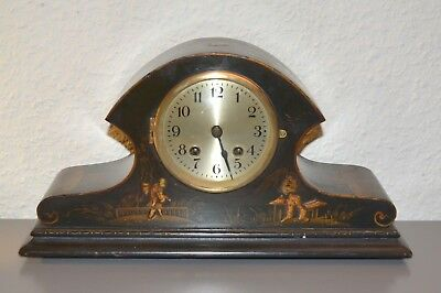 ANTIQUE Chinoiserie Mantle Clock. Working order. Hand - paint.