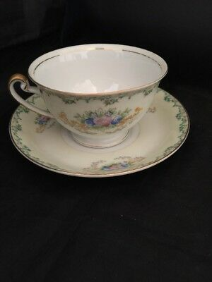 Vintage Stanley China (Japan) Teacup and Saucer Green Scrolled Edge HTF Rare
