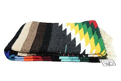 Mexican Yoga Blanket Native Diamond Black Serape Tapestry Falsa Throw Gray XL