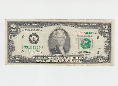 1995 - $2 USA note - American two dollar bill