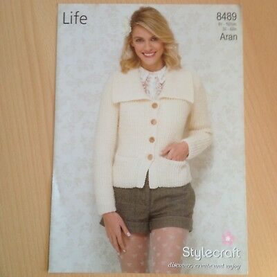 Aran Knitting Pattern Ladies Womens Cardigan Jacket Bust 32 42