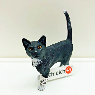 Schleich Cat Standing Black and White 13770 Figure Educational Toy Orig Tag