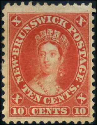 New Brunswick #9 mint VF NG 1860 First cents 10c vermilion Queen Victoria