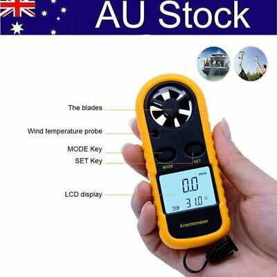 Temperature Digital LCD Anemometer Wind Speed Meter Tester Gauge Thermometer New