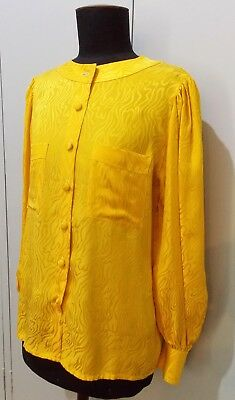 Vintage 1980s Hand Tailored Yellow Silk Women's Blouse- 52cm Bust