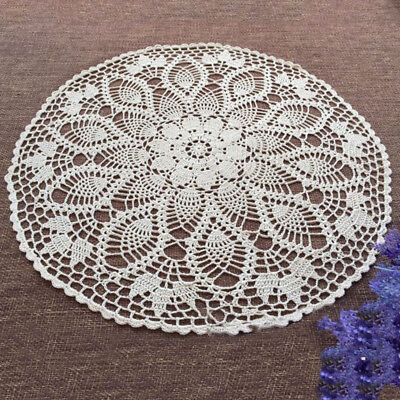 White Vintage Hand Crochet Lace Doily Cotton Tablecloth Round Table Topper 60cm