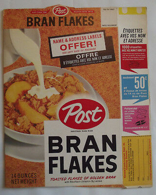 1950-60s Post Bran Flakes Name 7 Address Label Offer 14 Oz Front of box & 2 side