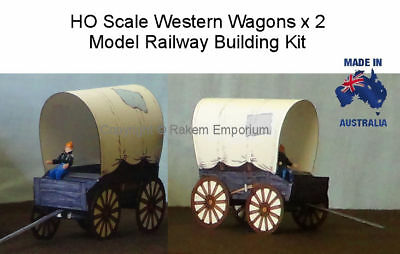 HO Scale Western Wagons x 2 - Model Railway Building Kit - HOWW1
