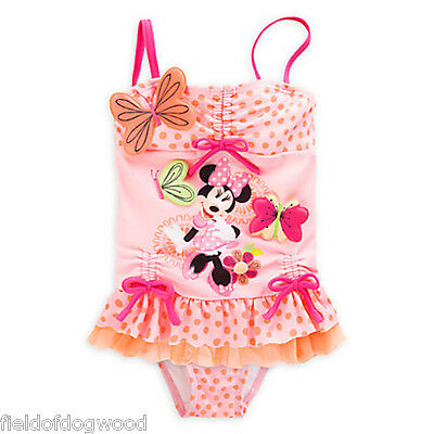 NWT Disney Store Minnie Mouse Clubhouse Ruffled 2pc Swimsuit Girls 5/6 7/8