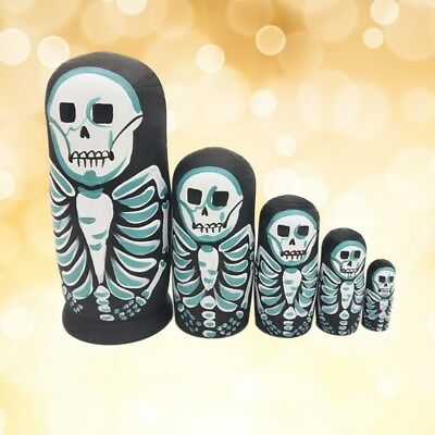 5 X Cute Nesting Dolls Skeleton Russian Nesting Stacking Dolls Collection Toy