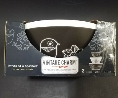 Pyrex Vintage Charm Birds of a Feather 3 Piece Mixing Bowl Set inspired by Pyrex