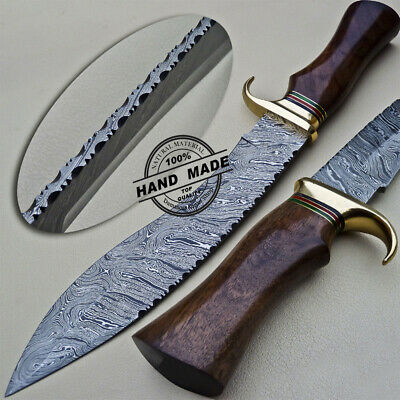 Beautiful Custom Hand Made Damascus Steel Hunting Kukri Bowie Knife Rose Wood