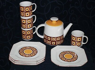 retro GEOMETRIC tea coffee set SIENA WARE IMPERIAL JAPAN porcelain 9 pc  TEAPOT