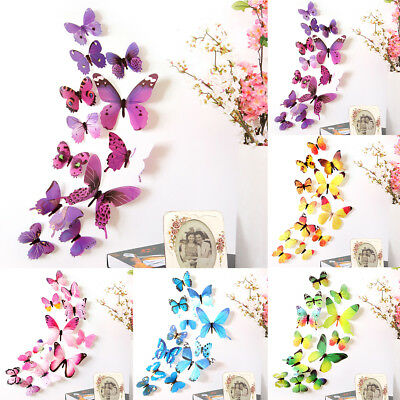 3D Gradient Butterfly Wall Stickers Wings Decal Indoor Outdoor Decor Alluring