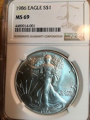 1986 American Silver Eagle 1 oz NGC MS69