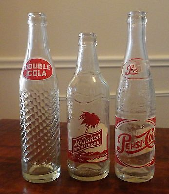 Vintage ACL Soda Bottles - Set of THREE (3) - McGahan, Double Cola and Pepsi