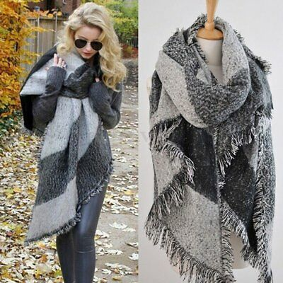 Winter Women Large Wool Cashmere Warm Soft Scarf Shawl Plaid Pashmina Stole