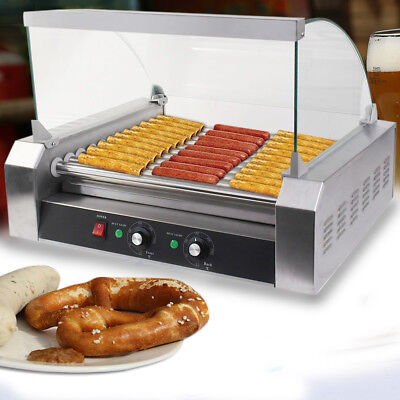 Kitchen Tool  30 Hot Dog 11 Roller Grill Stainless Steel Cooker Machine W/ Cover