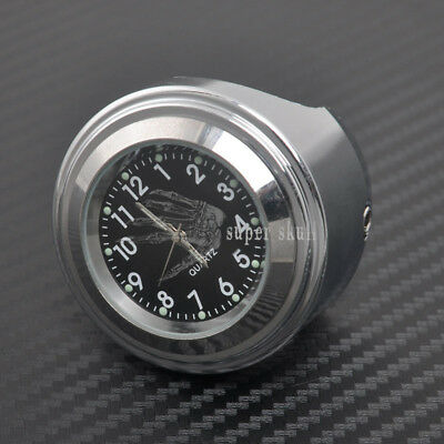 "7/8"" Motorcycle Chrome waterproof Black Dial Handlebar Clock Glow Watch Generic"