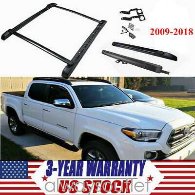 For 09-18 Toyota Tacoma Double Cab Stowaway Roof Rail /& Crossbars Rack BLK Set