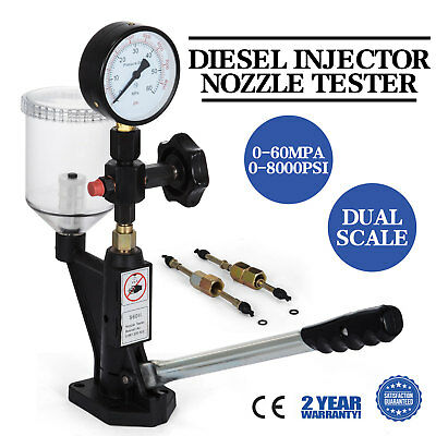 Diesel Injector Nozzle Tester - Pop Pressure Tester, Dual Scale 400-6000 PSI BAR