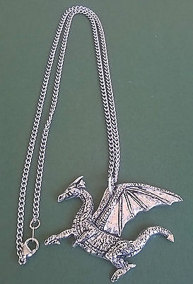 dragon design hand made in Cornwall with surgical steel chain pewter pendant