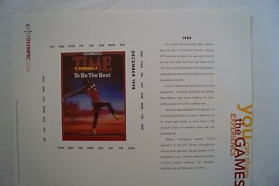 Olympic Games Collectable -Sydney-2000 -Time Calendar Sheet - 1988 - Seoul