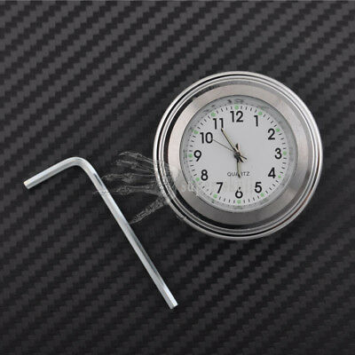 "7/8"" 1"" Motor Chrome Waterproof White Dial Handlebar Clock Glow Watch For Honda"