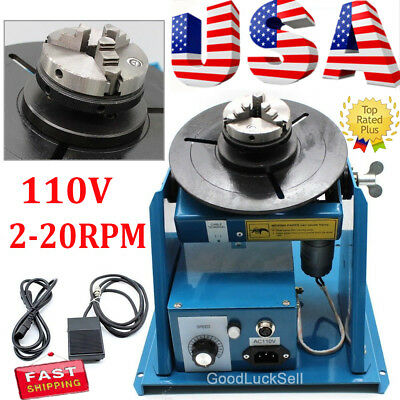 "110V 2.5"" Auto Rotary Welding Positioner Turntable Table 3 Jaw Lathe Chuck Blue"