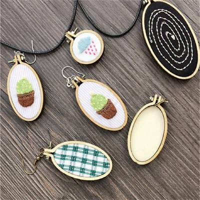 Mini Wooden Cross Stitch Hoop Ring Embroidery Circle Sewing Kit Frame Craft Set