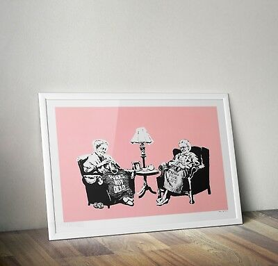 Banksy Knitting Grannies Graffiti Street Art Poster Print Picture A3 A4