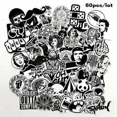 60X Mixed Stickers Toy Styling Black And White DIY Vinyl Laptop Luggage Stickers