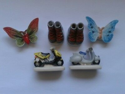 """1 Lot 6 Feves """" Papillon"""" & """"chaussures"""" & """"scooter"""""""