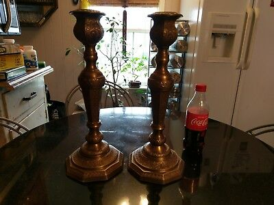 Pair of Gorgeous Antique Ornate Huge Solid Brass Candlesticks