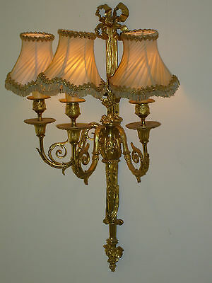 1  Pair French Gilt Antique Large Early 19Th Century Wall Sconces Fab Detail