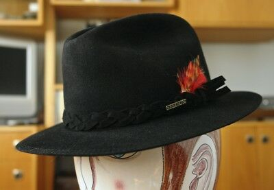 2d277fa22a4 VINTAGE BLACK STETSON KEY CLUB FEDORA Men s Hat 7-1 8