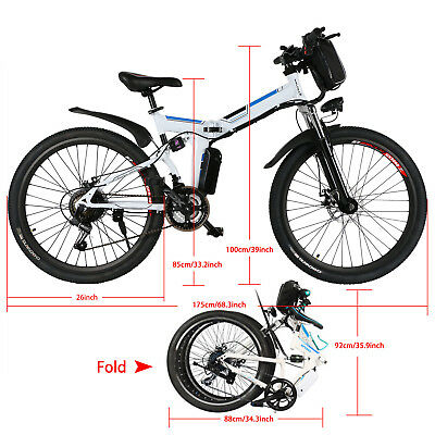 ae3c5fd19c4 ANcheer 26'' Folding Electric Mountain Bike Bicycle Ebike & W/ Lithium  Battery*