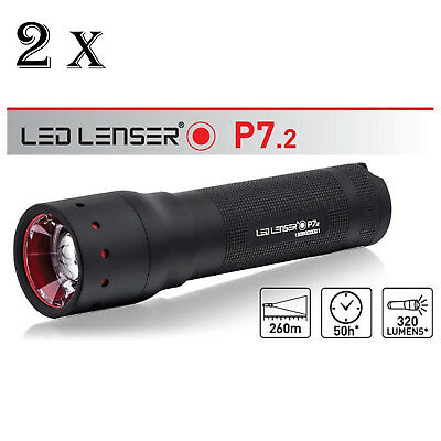 LEN LENSER P7.2 TWIN PACK 320 Lumens TORCH FLASHLIGHT Separate Gift Boxes NEW