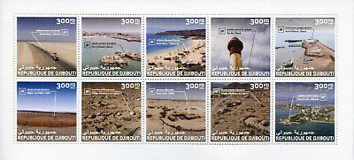 Djibouti 2017 MNH Tourism & Landscapes Architecture Ports Beaches 10v M/S Stamps
