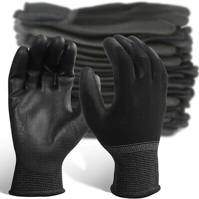 24X PAIRS OF BLACK NYLON PU GRIP OGRIFOX Safety Work Gloves Builders Gardening