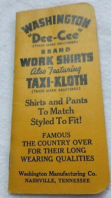 1943 Advertising WASHINGTON DEE-CEE Shirts Overalls Colthing Pocket Note Book